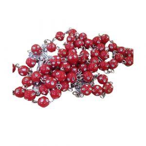 Terço médio em acrílico vermelho com brilhantes
